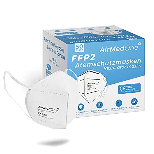 AirMedOne 50 Stück FFP2 Maske Atemschutzmaske EU CE zertifiziert CE2163 5-Lagen Atemmaske medizinische Mundschutz Maske