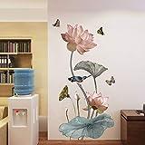COVPAW Wandtattoo Wandaufkleber XXL Lotus Rosa Blumen Wandsticker Wandbild Bilder Wohnzimmer Schlafzimmer Deco