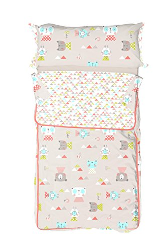 Burrito Blanco Saco Nórdico Infantil 006 con Cremallera y Relleno Diseño de Animales y Triángulos para Cama de 90 x 190 cm hasta 90 x 200 cm, Beige