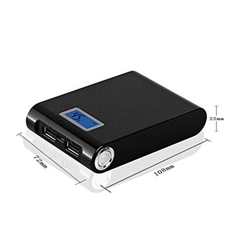 Xshuai® Chargeur de batterie 18650 avec double USB 5 V 12 000 mAh pour téléphone (Noir)