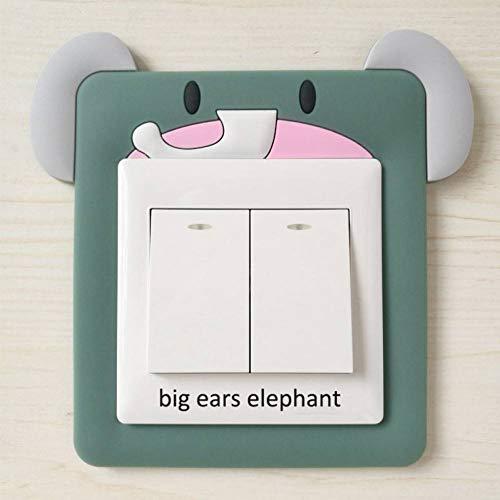 QTDS Interrupteur Autocollant 1 Pcs Interrupteur Autocollant Lavable Accueil Décalque Mignon De Bande Dessinée Animaux Chambre d'enfants Décor Doux Silicone Glow Autocollant Mural,Big Ears Elephant