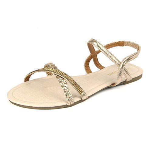 Mudan MU Dan Womens Shoe Soporte de Trenzado y Rhinestone cómodo Slingback Sandal