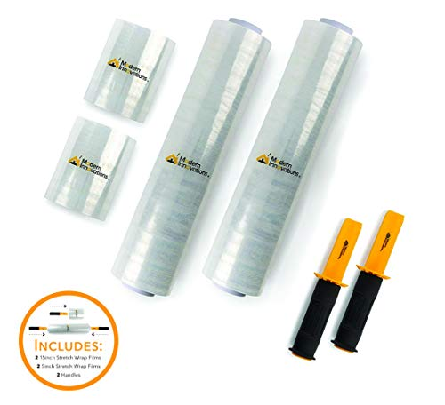 5 Inch and 15 Inch Stretch Film (2 of Each Size) Total 4 Stretch Rolls and 2 Handles - Industrial Clear Plastic Stretch Wrap with Handles - Stretch Wrap for Moving and Pallet Wrapping - 1000 Feet Long