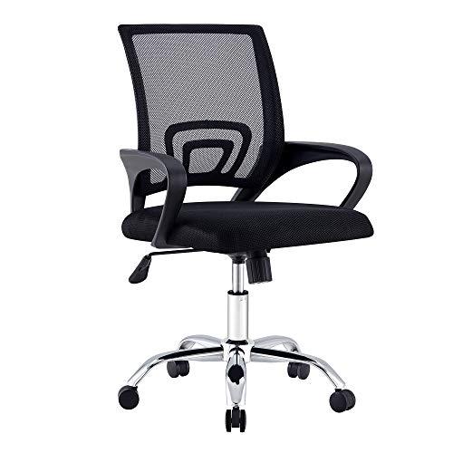 LYME S, una pieza, sillas giratorias de oficina, sillas de ordenador/aprendizaje/escritorio, negro, gris, rojo, azul (negro, 1)