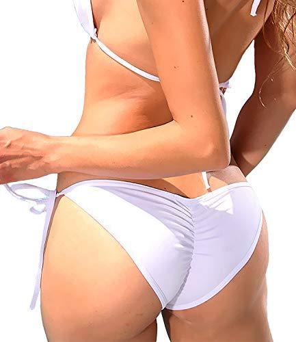 KIWI RATA Damen Bademode Sexy Tie Side Sweet Heart Brazilian Bikini Bottom Hipster Badeanzug Beachwear Bademode -  Weiß -  Medium