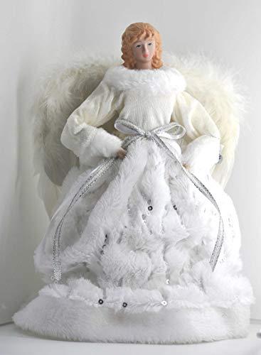 crafts & design Engel, Weihnachtsengel mit Kleid aus Kunstpelz und echten Federn, weiß, 30 cm