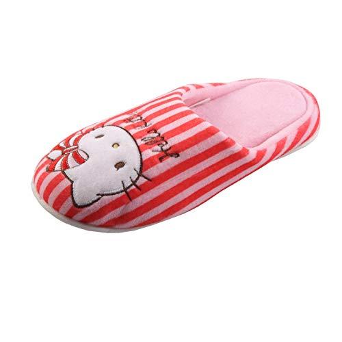 Tierhausschuhe HELLO KITTY Katze Tier Hausschuhe Pantoffel Schlappen Slipper Kuscheltier Plüsch Mädchen, TH-HelloKitty, Modell Stripe rot rosa, Größe 30/31