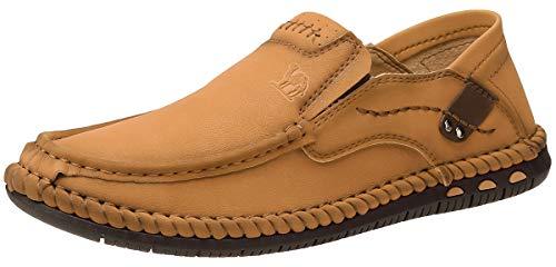 CAMEL CROWN Leicht Mokassins Herren Slipper Leder Slip On Loafer Weich Flache Hausschuhe Fahrschuhe Sommer Schuhe für Herren Fahren Freizeit,Braun,43EU