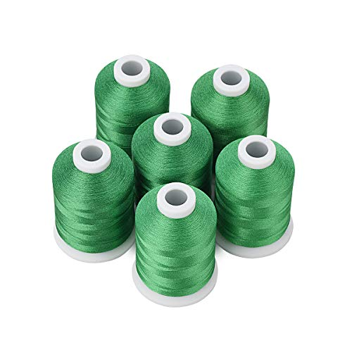 Simthread 6 Green Polyester Machine Embroidery Threads 1000M(1100Yards) for Brother Babylock Janome Pfaff Singer Bernina Home Embroidery and Sewing Machines (Green)