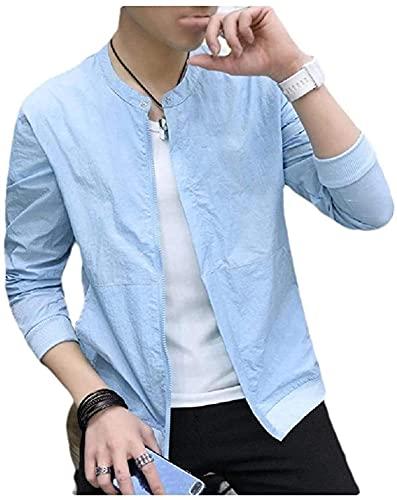 Chaqueta casual de color sólido con cremallera para hombre UPF50+ con bolsillo fino