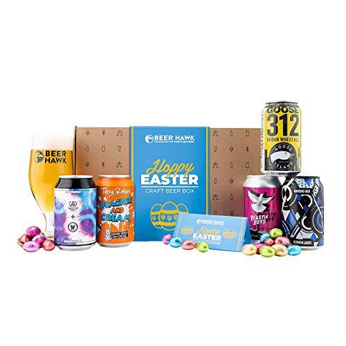 Beer Hawk Easter Craft Beer Selection Box - 5 Beers 1 Glass & Chocolates Eggs - Craft Beer Hamper Easter Beer Gift Box by Beer Hawk