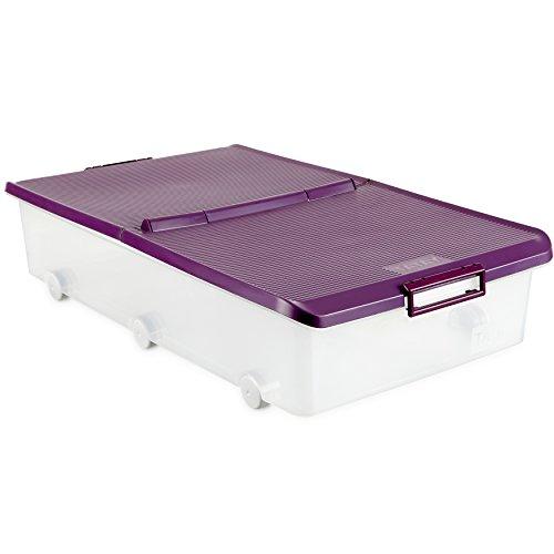 Tatay 1151120 Caja de Almacenamiento Multiusos Bajo Cama con Tapa y Ruedas, 63 l de Capacidad, Plástico Polipropileno Libre de BPA, Transparente con Tapa Morada, 45 x 78 x 18 cm