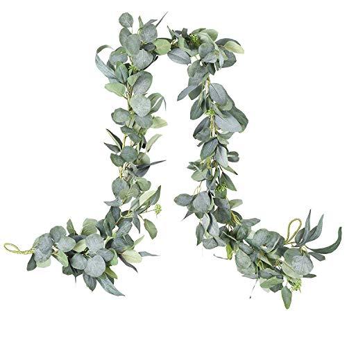 YQing 6.2 Ft Artificial Eucalipto Guirnalda Planta, Eucalyptus Guirnaldas Seda Hojas Vines Artificiales Decoracion Boda Fondo Pared Decoración