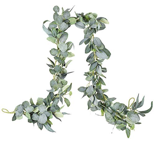 YQing 189cm Eucalyptus Garland Artificial Silk Eucalyptus Leaves Vines Handmade Garland Greenery Wedding Backdrop Arch Wall Decor