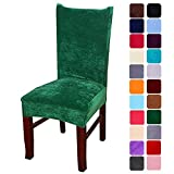 smiry Velvet Stretch Dining Room Chair Covers Soft Removable Dining Chair Slipcovers Set of 4, Dark Green