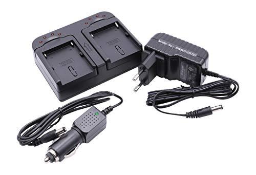 vhbw Cargador Dual Compatible con Sony Alpha SLT-A57K, SLT-A58, SLT-A58K batería de cámara - Soporte + Adaptador Coche