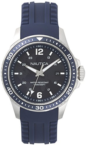 Nautica Herren Analog Quarz Uhr mit Silikon Armband NAPFRB002