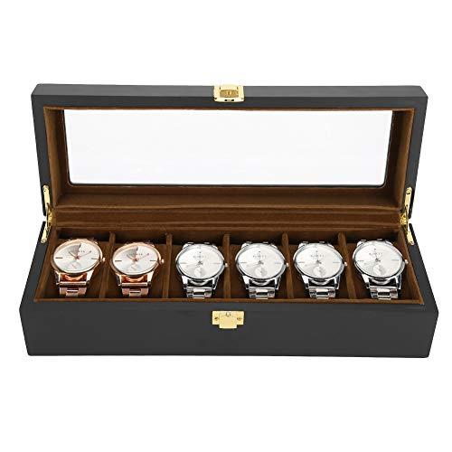 Uhrenbox 6 Gitter braun Schmuck Organizer Display Holz lackiert