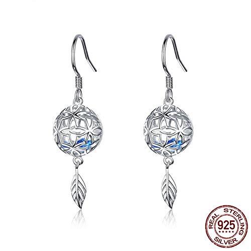 AdronQ Ohrringe Ohrstecker Ohrhänger Klassische 925 Silber Flower Leaf Ball Creolen Blaue Zirkon Ohrringe Für