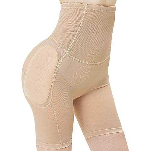 ZUXNZUX Damen Butt Lifter Höschen Hüfte Push Up Hose Po Gepolstert Hip Enhancer Shapewear Miederslip Padded Seamless Miederhose Figurformender Miederpant Unterhose Briefs -Beige S