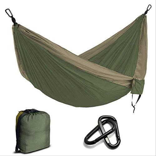 WYYAF Amaca Portatile in Nylon per Paracadute Campeggio Survival Garden Caccia Tempo Libero Hamac Travel Doppia Persona hamac Verde Militare