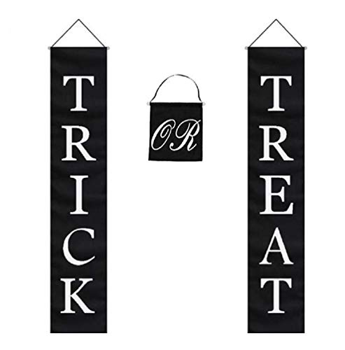 Trick or Treat Halloween Banner 3-Pc Set Home or Office Decor Ready To Hang