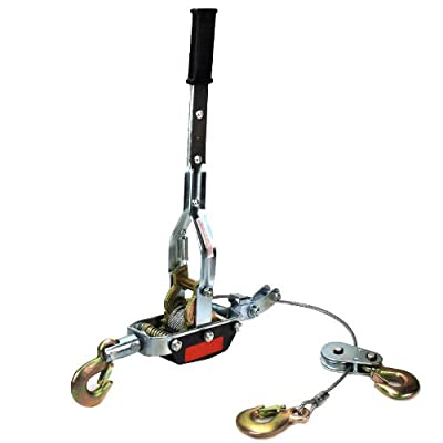 XtremepowerUS Heavy-Duty 4-Ton Come-A-Long Power Puller - 3 Hooks and 2 Gears