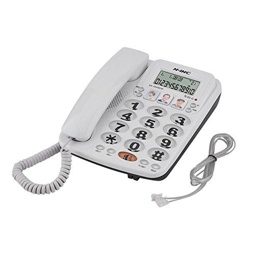 Pangding Teléfono con Cable de 2 líneas con Altavoz Marcación rápida Teléfono con Cable Teléfono Fijo Contestador automático con identificador de Llamadas para Oficina en casa