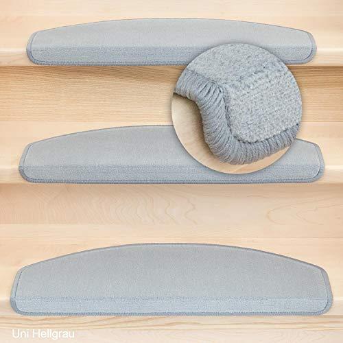 Kettelservice-Metzker® Stufenmatten Vorwerk Uni Einzeln und Sparset's Hellgrau 14 Stück Halbrund