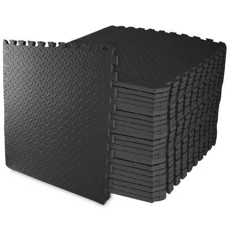 Everyday Essentials 3/4quot Black Thick Flooring Puzzle Exercise Mat with EVA Foam Interlocking Tiles 24 Piece 96 Sq Ft