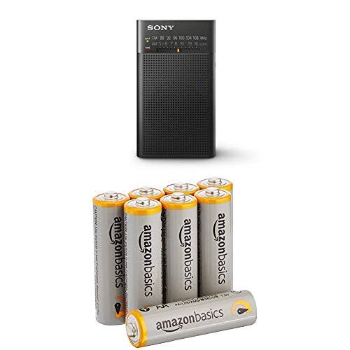 Sony ICF-P26 Analogtuner (UKW/MW mit Frontlautsprecher, Kopfhörerausgang, Batterienbetrieb) schwarz mit Amazon Basics Batterien