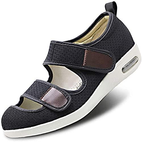 Hombres Mujeres Zapatos para diabéticos Zapatillas extra anchas de espuma viscoelástica Zapatos ajustables para hinchar los pies Zapatos para caminar con fondo con cojín de aire,negro,39