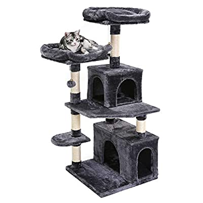SUPERJARE Cat Tree Tower, Multi-Level Kitten Play House with Cozy Perches, Plush Condos and Sisal Scratching Posts - Dark Gray