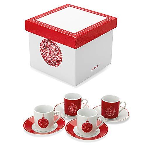 OLGP, Set Di Tazzine Da Caffè, Motivo Palla Per Albero Di Natale, 8 Pezzi, Con 4 Tazzine E 4 Piattini. Scatola In Coordinato.