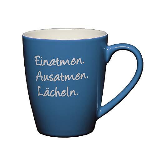 LePaJo Tasse mit Sprüchen: Einatmen Ausatmen Lächeln. Farbenfrohe Kaffeetasse, Tasse, Kaffeetassen, Geschenktasse