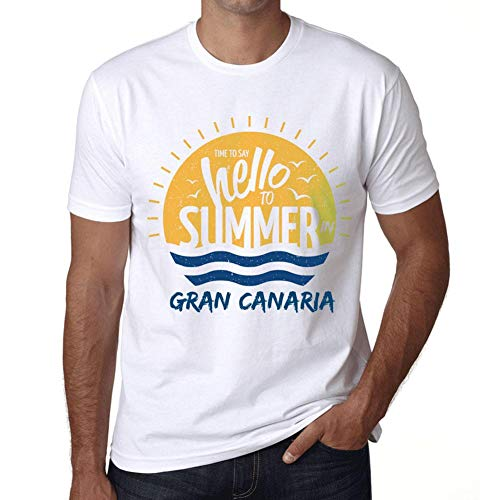 Hombre Camiseta Vintage T-Shirt Gráfico Time To Say Hello To Summer In Gran Canaria Blanco