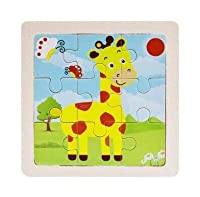 ミニサイズ 11*11 センチメートル子供のおもちゃ木製パズル木製 3D パズルジグソーパズル子供ベビー漫画の動物/交通パズル教育玩具
