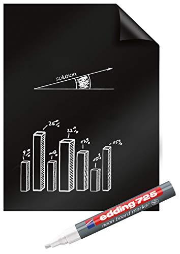 Legamaster 7-159200 Magic-Chart Blackboard elektrostatische Folie für verschiedene Oberflächen, gerollt 25 Blatt (je 60 x 80 cm) + Marker