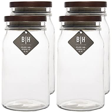 Blue Harbor (4 Pack) 35oz Clear Glass Storage Jars With Wood Lids Decorative Kitchen or Craft Jar Set