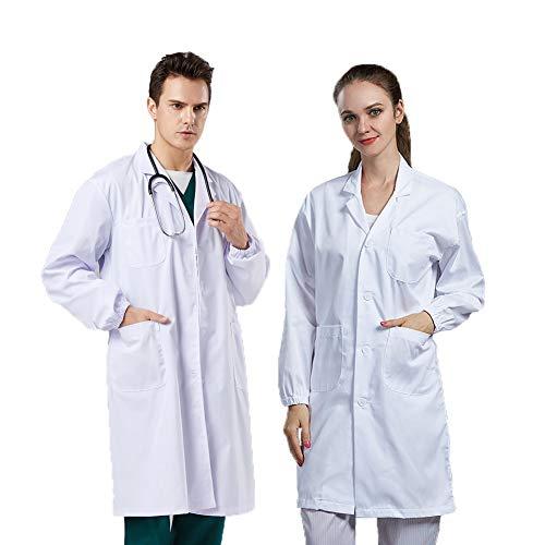 V Vaborous Lab Coat Women Unisex White Lab Coat Men Science Doctor Lab Coat Costumes,White