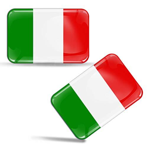 SkinoEu® 2 x Aufkleber 3D Gel Silikon Stickers Italien Flagge Italy Flag Fahne Autoaufkleber F 29