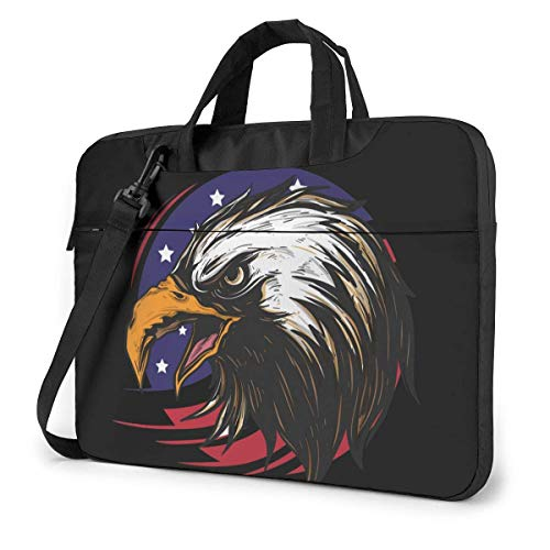 Adults Student Laptop Bag Protective Notebook Computer Protective Cover Handbag Round Eagle Character America Flag