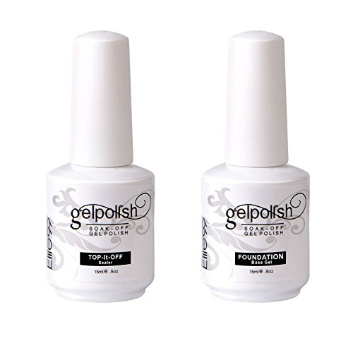 Elite99 Nagellak, semi-permanent, set van 4 nagellak UV-/LED-gel, manicure-set, semi-permanent, Soakoff nagelkunst Base et top coat