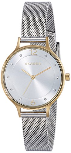 Skagen Women's Anita Quartz Stainless Steel MeshWatch, Color:Silver-tone, 12 (Model: SKW2340)