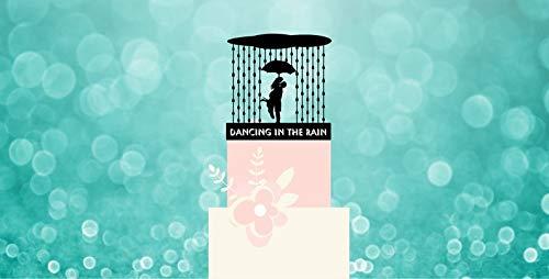 Dansen in de regen bruiloft paar taart topper met uw naam of zin. Met wolken, regen, paraplu, bruidspaar