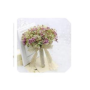 Bride Holding Flowers Romantic Wedding Colorful Gypsophila Bride 's Bouquet Pink Purple Blue Bridal Bouquets,as The picture2