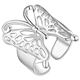 Daawqee Donna Anelli, Fashion Silver Color Butterfly Ring Opening Adjustable Ring for Wome...