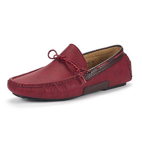 BRUNO MARC NEW YORK Men's Santoni-01 Burgundy Penny Loafers Moccasins Shoes Size 11 M US