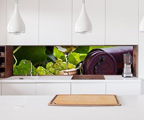 Aufkleber Küchenrückwand Wein Glas Weißwein Flasche Garten Trauben Obst Folie selbstklebend Möbelfolie Spritzschutz 22A1192, Höhe x Länge:60cm x 100cm