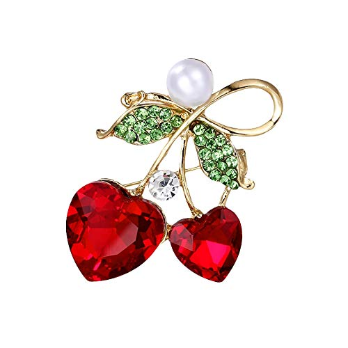 Bleyoum Brooch Red Glass Crystal Cherry Brooch Pins Fashion Clothes Decorated Jewelry Accessories